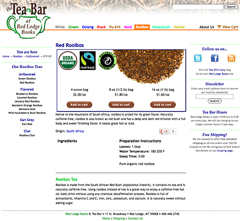 Tea Bar website