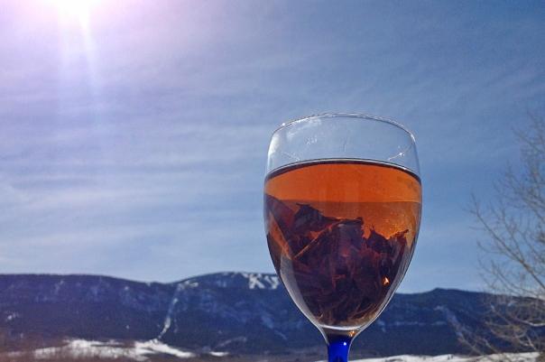 Tea Leaves in Wine Glass