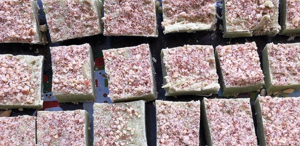 Matcha fudge squares
